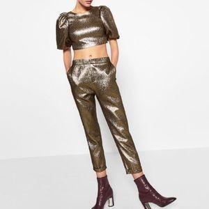 Zara 2 Piece Set Gold Jacquard Metallic Pants Top